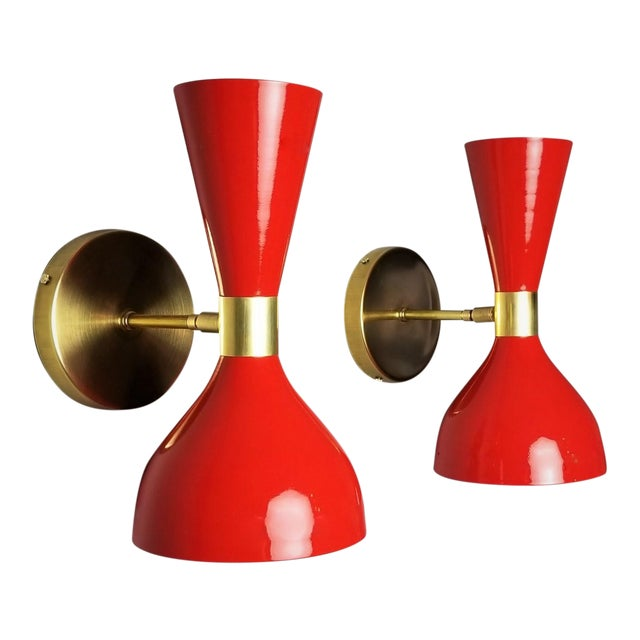 "Red Italian Modern Brass and Enamel ""Ludo"" Wall Sconces Blueprint Lighting - A Pair For Sale - Image 8 of 8"