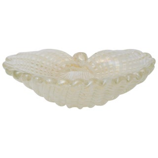 Large Scale Clam Shell Murano Glass Dish by Barovier E Toso For Sale
