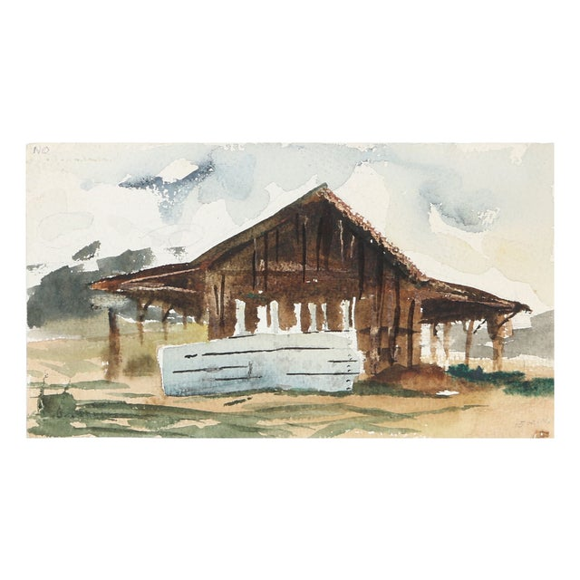 "Eve Nethercott ""Barn"" Watercolor Painting For Sale"