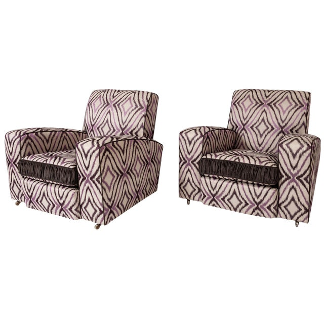 Art Deco Ikat Silk Fabric Club Chairs - A Pair For Sale