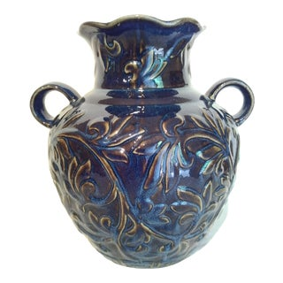 Large Cobalt Blue and Brown Decorative Pottery Vase For Sale