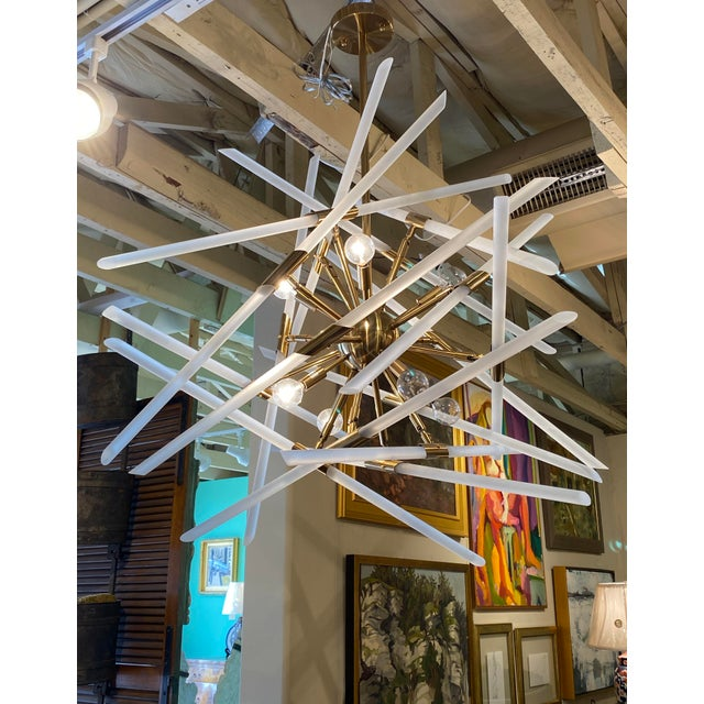 2010s Contemporary Frosted Glass Rods and Brass Sputnik Center Chandelier For Sale - Image 5 of 6