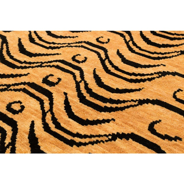 2010s Black and Tan Wool Tibetan Tiger Area Rug For Sale - Image 5 of 7