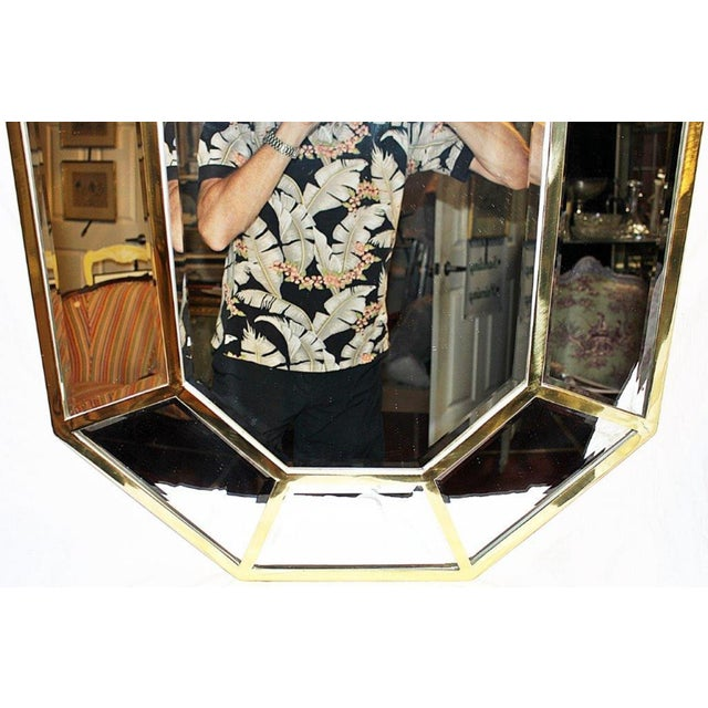 Brass Beveled Mirror-On-Mirror For Sale - Image 4 of 8