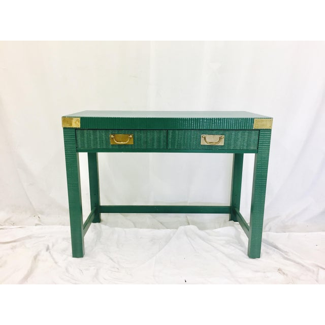 Vintage Mid-Century Campaign Green Desk - Image 7 of 11