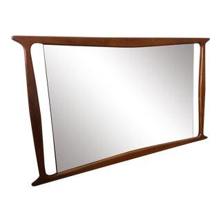 Vintage Mid Century Large Walnut Mirror