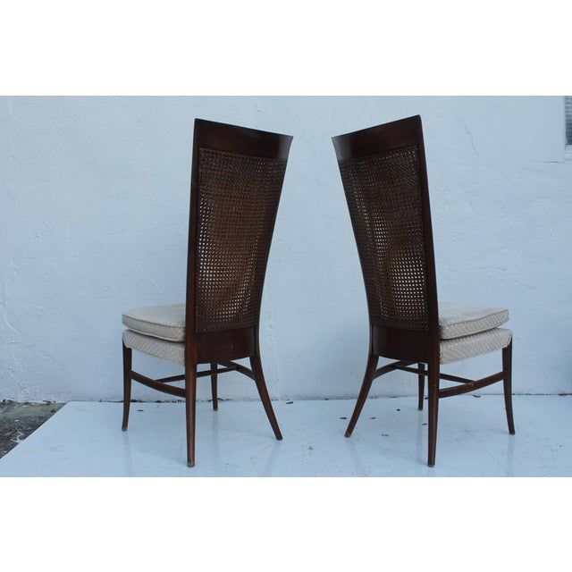Teak Robsjohn Gibbins Style Teak Cane Tall Back Dining Chairs Set of 6 For Sale - Image 7 of 11
