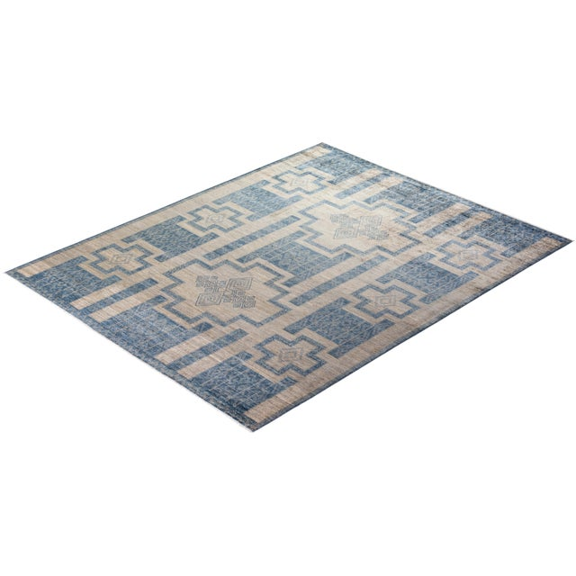 """Blue Bohemian Hand-Knotted Area Rug 7' 10"""" x 10' 0"""" For Sale - Image 8 of 9"""