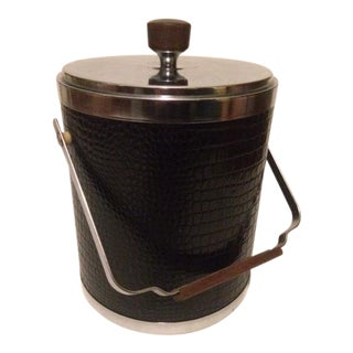 Kromex Ice Bucket in Faux Black Alligator