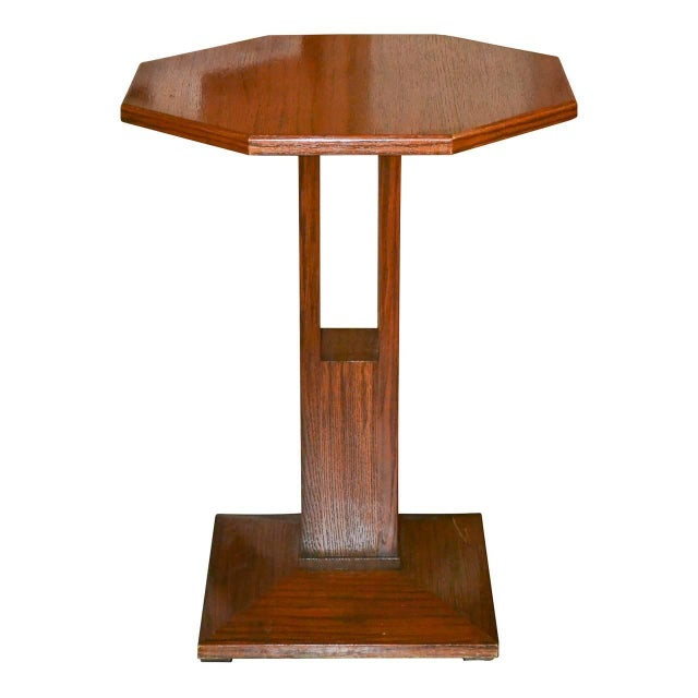 Wood Midcentury Tiger Oak Stand For Sale - Image 7 of 7