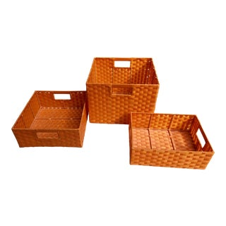 Vintage Woven Plastic Storage Baskets - Set of 3 For Sale