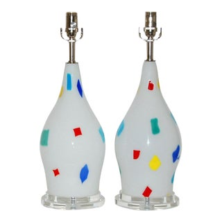 Dino Martens Vintage Murano Glass Patchwork Table Lamps For Sale