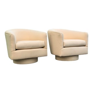 1970s Vintage Milo Baughman Style Swivel Bucket Chairs- a Pair For Sale