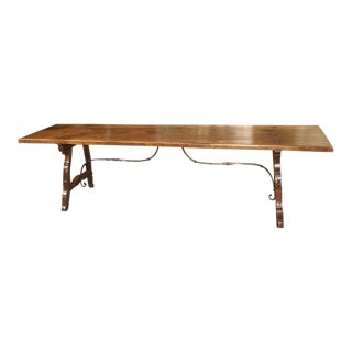 9-Foot Long Antique Oak and Wrought Iron Table From Spain, Early 1800s For Sale