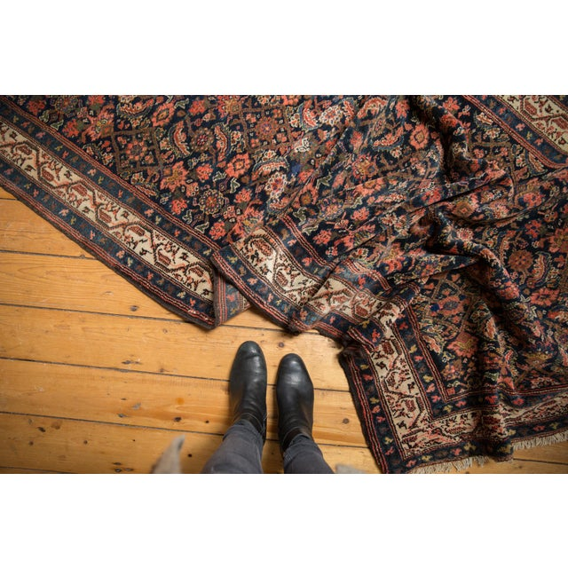 :: Hard to find, wide and long fine quality Hamadan carpet, with a classic repeating Herati motif in great density and...