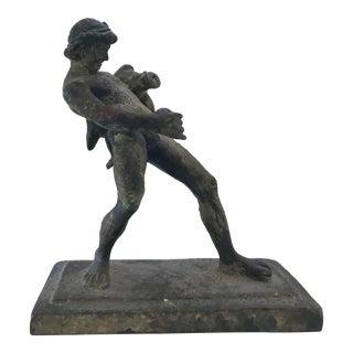 Vintage Mid Century Modern Brutalist Brass Bronze Man Mythological Sculpture For Sale