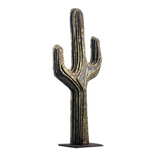 Brutalist Torch-Cut Brass and Steel Cactus Sculpture For Sale