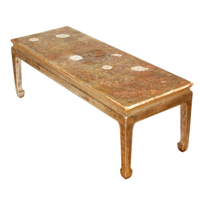 Beautiful vintage Max Kuehne silvered chinoiserie style coffee table with floral motif.