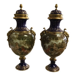 French Hand Painted Colbalt Blue Sevres Covered Urns - a Pair For Sale