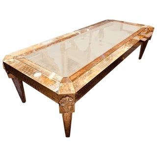 Palatial Versace Style Mirrored and Etched Low or Coffee Table For Sale