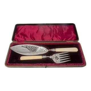 Antique Silver-Plate Fish Server Set With Bone Handles For Sale