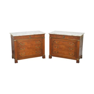 French Empire Style Vintage Pair of Marble Top Chests Commodes