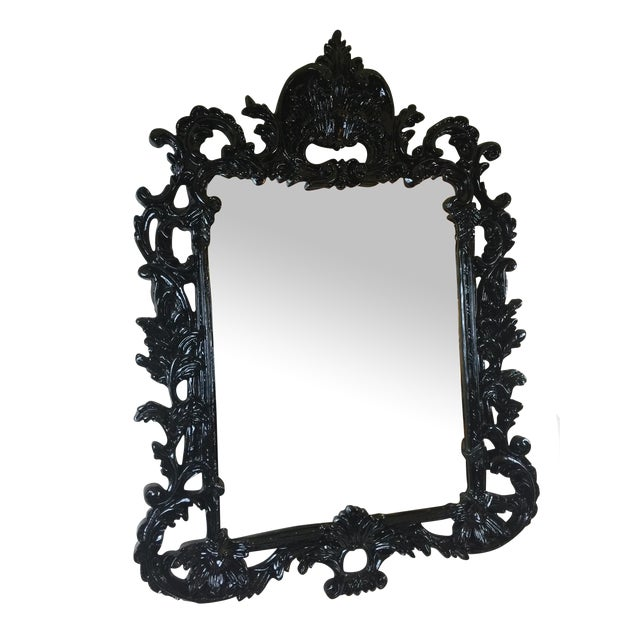 Black Lacquered Ornate MIrror - Image 1 of 5