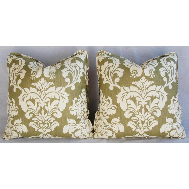 Pair of large custom-tailored pillows in a vintage/never used Brule Fabric hand-printed/blocked damask cotton/linen...