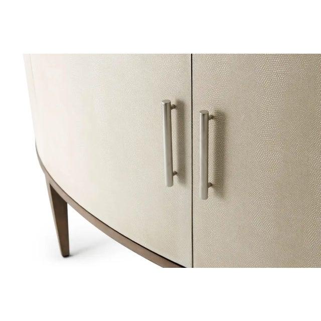Bowfront Sideboard Mangrove Finish Primavera Veneer & Beech Overcast Finish Komodo Embossed Leather Cabinet Doors...
