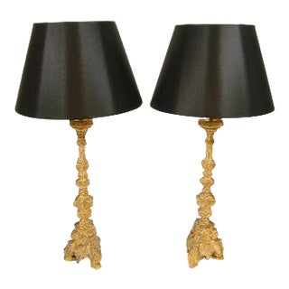 19th Century Prickets Converted to Table Lamps - a Pair For Sale