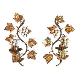 Italian Gilt Grape Candle Sconces For Sale
