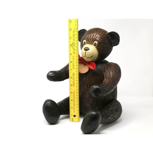 Brown Vintage Hand-Carved Wood Jointed Teddy Bear For Sale - Image 8 of 9