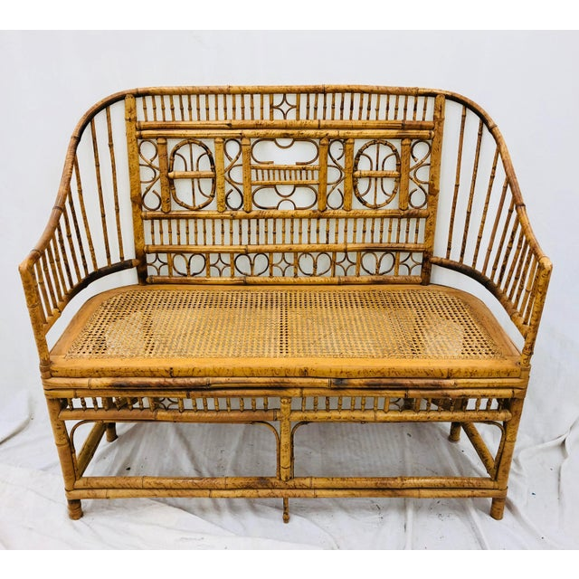 Mid 20th Century Vintage Scorched Bamboo & Cane Settee For Sale - Image 5 of 13