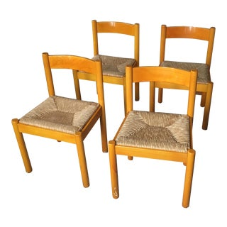 Mid-Century Modern Beechwood Vico Magistretti Carimate Chairs for Cassina - Set of 4 For Sale