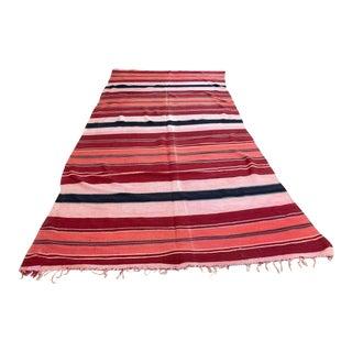 Moroccan Vintage Flat-Weave Tribal Kilim Rug For Sale
