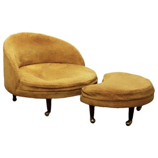 Rare Adrian Pearsall Round Havana Chair and Ottoman, 1960s, for Re-Upholstery For Sale