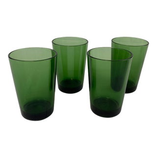 Kaj Franck Green Glass Tumblers - Set of 4 For Sale