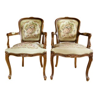 Chateau d'Ax French Provincial Tapestry Fauteuil Bergere Arm Chairs- a Pair For Sale