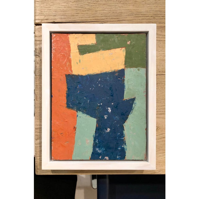 Mid-Century Danish Color Story on Board in Custom White Washed Floater Frame For Sale - Image 13 of 13