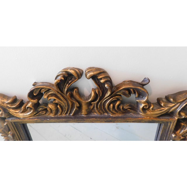 Vintage Baroque Style Gold Leaf Beveled Wall Mirror For Sale - Image 4 of 11