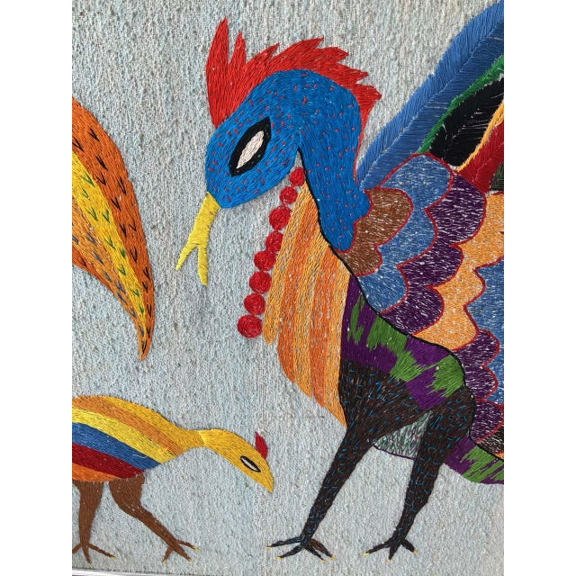 Large Embroidered Turkey Wall Hanging For Sale - Image 4 of 8