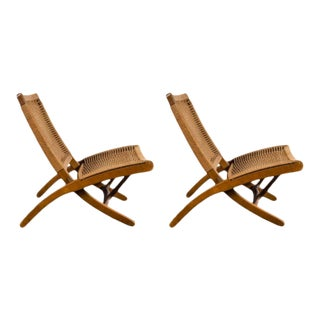 Featured in The 2020 San Francisco Decorator Showcase — Hans Wegner Style Woven Folding Chairs - a Pair