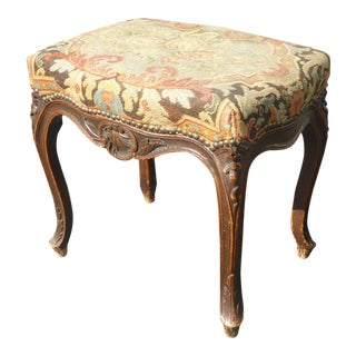 Vintage French Provincial Needlepoint Tan Floral Tapestry Bench With Cabriole Legs
