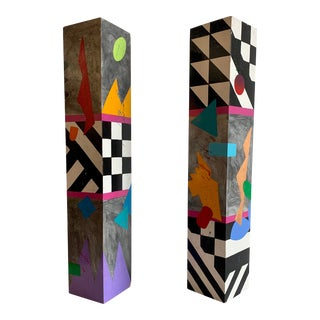 Colorful Postmodern Artist Made Painted Wood Totems Memphis Era For Sale