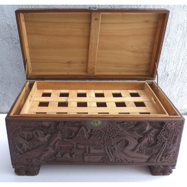 Chinese Teak & Cedar Carved Chest For Sale - Image 4 of 13
