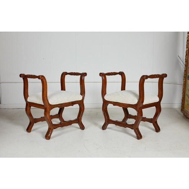 Neoclassical Pair of Italian Provençal Walnut Stools For Sale - Image 3 of 13