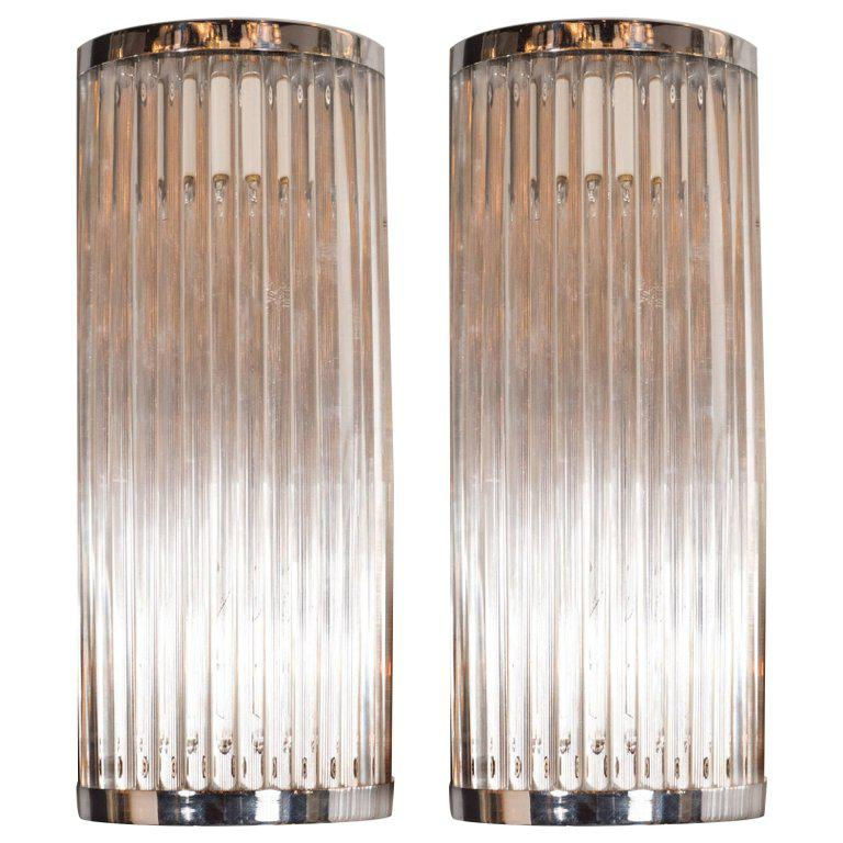 Pair Of Streamlined Art Deco Revival Chrome Wall Sconces With Translucent  Rods   Image 7 Of