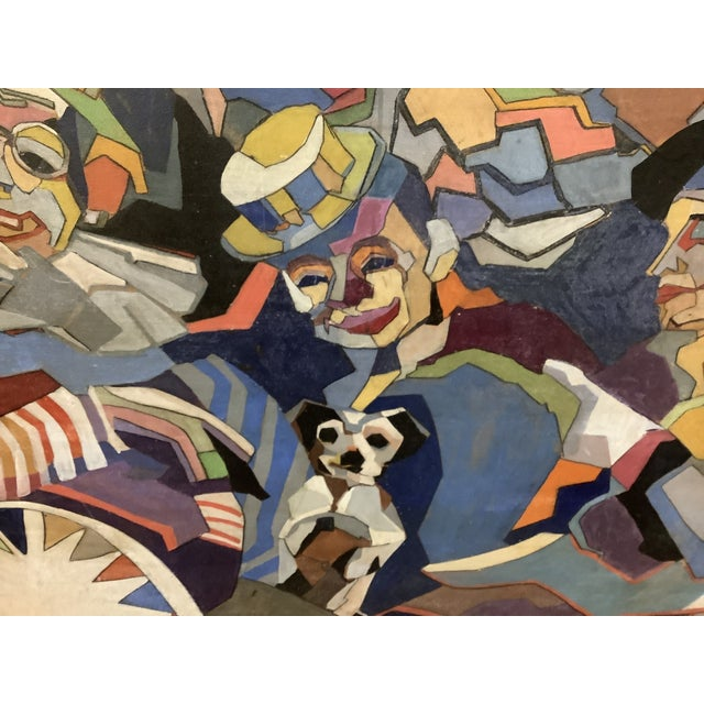 Midcentury Cubist Style / Folk Art Clown Painting For Sale - Image 11 of 12