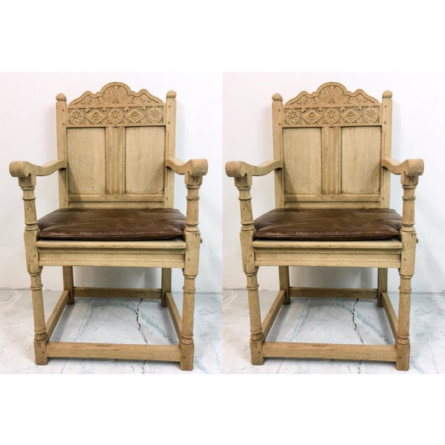 Antique French Bleached Oak Armchairs - A Pair For Sale In Atlanta - Image 6 of 6