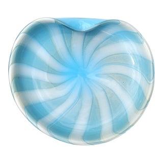 Alfredo Barbini Murano Vintage White Blue Gold Flecks Swirl Italian Art Glass Mid Century Bowl For Sale